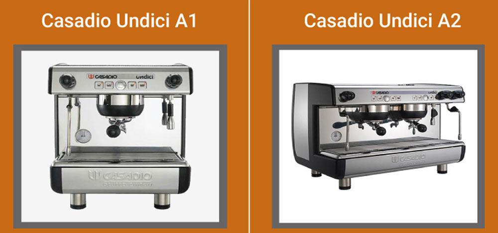 So sánh máy pha cà phê Casadio Undici A1 A2